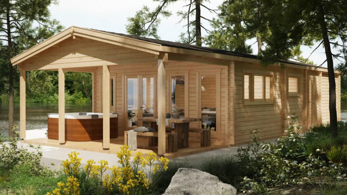 Gartensauna mit Vorraum und Terrasse auf einem LogFoot™